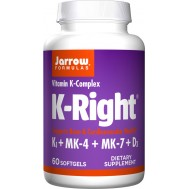 D+K - K-Right 60 softgels  - K1 + MK-4 + MK-7 + D3 - geoptimaliseerd vitamine K-complex | Jarrow Formulas