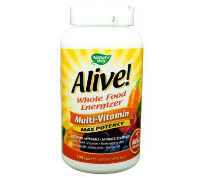 Alive! 180 tabs - krachtige multivitamine met superfoods zonder ijzer | Nature's Way
