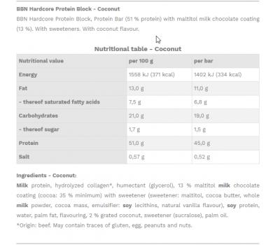 Best Body Protein Block Coconut