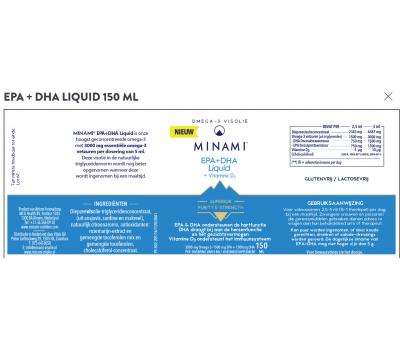 EPA+DHA Liquid 150 ml , liquid fish oil formula with vitamin D3 for adults | Minami Nutrition