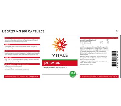 IJzer 25mg 100 capsules - chelated iron bisglycinate with vitamin C | Vitals