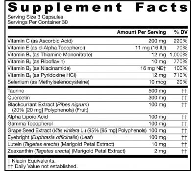 Vision Optimizer 90 capsules - luteïne, zeaxanthine, zwarte bes, druivepit, ogentroost, ALA, quercetine    Jarrow Formulas