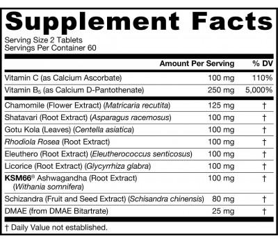 Adrenal Optimizer 120 tablets - chamomile, shativari, ashwagandha, gotu kola, rhodiola, Siberian ginseng, licorice root, schizandra, DMAE | Jarrow Formulas