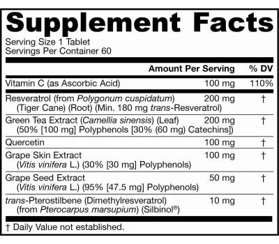 Resveratrol Synergy 200mg 60 tablets - 90% transresveratrol, grape seed, grape skin, green tea & quercetin | Jarrow Formulas