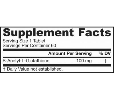 S-Acetyl L-Glutathione 100mg 60 tablets | Jarrow Formulas