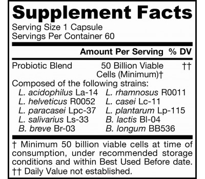 Ultra Jarro-Dophilus 50 billion 60 capsules - 10 beneficial strains with 50 billion probiotic organisms | Jarrow Formulas