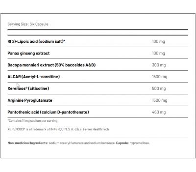 Ortho Mind 180 capsules - acetyl-L-carnitine, arginine pyroglutamaat, citicoline, Bacopa monniera, ginseng | AOR