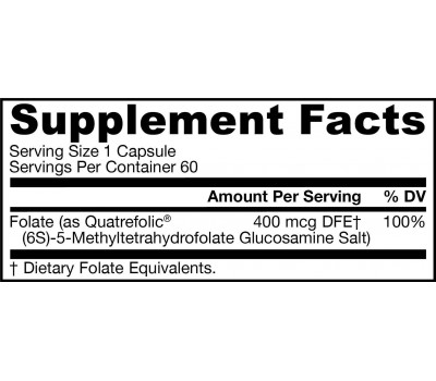 5-MTHF Methylfolate 400mcg 60 capsules, bio-available folic acid | Jarrow Formulas