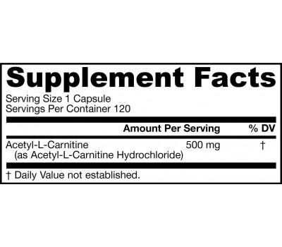 Acetyl-L-carnitine 500mg 120 capsules - the brain-specific carnitine | Jarrow Formulas