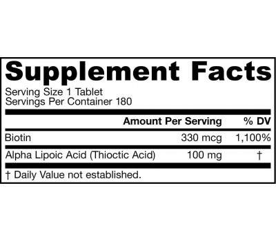 Alpha Lipoic Acid 180 tabletten - alfaliponzuur en biotine | Jarrow Formulas