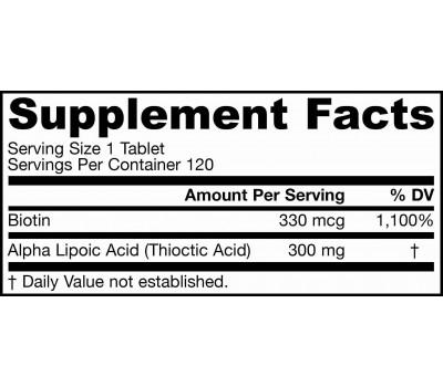 Alpha Lipoic Sustain 300mg 120 tablets -  sustained release alpha lipoic acid and biotin | Jarrow Formulas