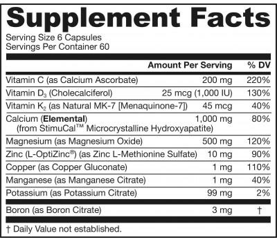 Bone-Up 360 capsules - calcium (MCHA) , magnesium, vitamine C, D3, K2 (MK7) | Jarrow Formulas