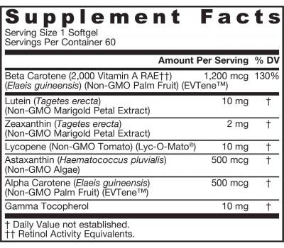 CarotenAll 60 softgels - alpha-carotene, astaxanthin, beta-carotene, lutein, zeaxanthin and lycopene | Jarrow Formulas