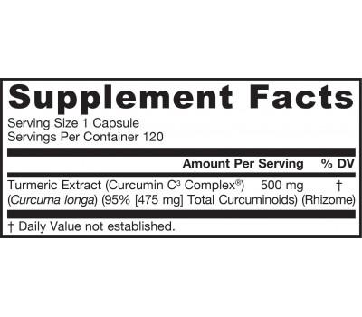 Curcumin 500mg 120 capsules - turmeric extract | Jarrow Formulas