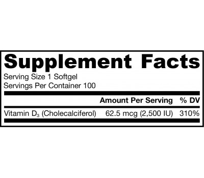 D3 - cholecalciferol 2500ie 100 softgels - 62,5mcg | Jarrow Formulas