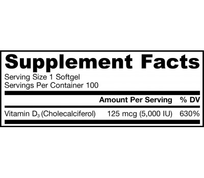 D3 - cholecalciferol 5000iu 100 softgels - 125mcg | Jarrow Formulas