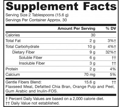 Gentle Fiber 468g - flax, chia seeds, orange pulp & peel, gum Arabic, and inulin-FOS | Jarrow Formulas