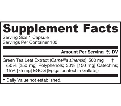 Green Tea 100 capsules - 50% polyphenols + 30% catechines | Jarrow Formulas