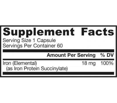 IronSorb 60 capsules - chelated iron complex (Iron Protein Succinylate) | Jarrow Formulas