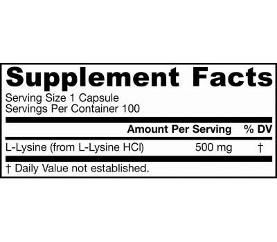 Lysine 500mg 100 capsules | Jarrow Formulas