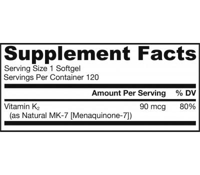 K - MK7 90mcg 120 softgels - Menaquinone vitamin K2 | Jarrow Formulas