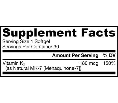K - MK7 180mcg 30 softgels - Menaquinone vitamin K2 | Jarrow Formulas