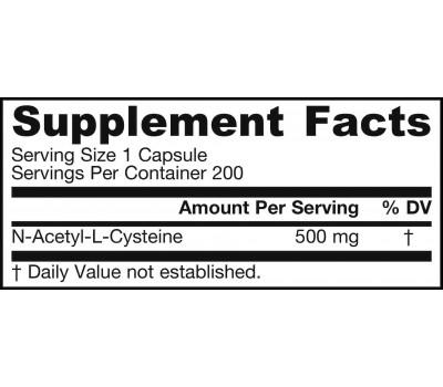 NAC 500mg 200 capsules - N-acetyl-cysteine   Jarrow Formulas