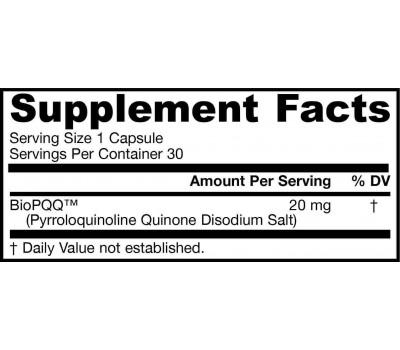 PQQ 20mg 30 capsules - pyrroloquinoline quinon | Jarrow Formulas