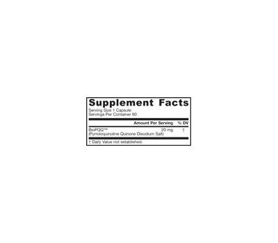 PQQ 20mg 60 capsules value-size - pyrroloquinoline quinone | Jarrow Formulas