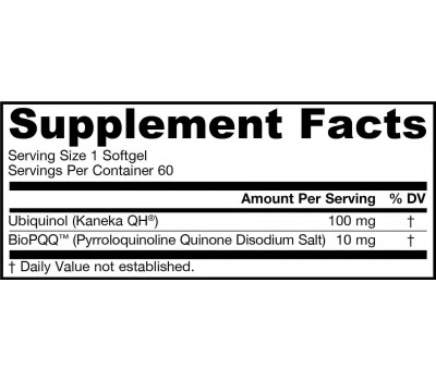 QH-absorb 100mg + PQQ 10mg 60 softgels - pyrroloquinoline quinone + ubiquinol (gereduceerd co-enzym Q10) | Jarrow Formulas