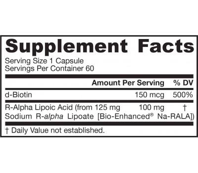 Alpha Lipoic Acid (R+) 60 capsules - R-alpha lipoic acid and biotin | Jarrow Formulas