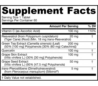 Resveratrol Synergy 20mg 60 tablets - 90% transresveratrol, green tea, grape seed, grape skin & quercetin   Jarrow Formulas