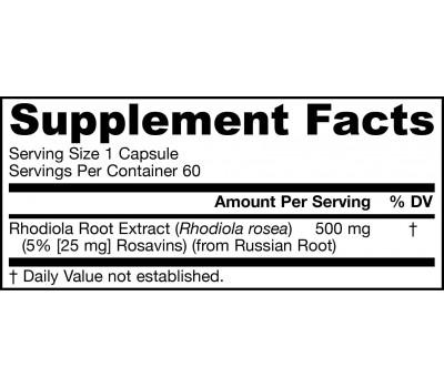 Rhodiola Rosea 500mg 60 capsules - 5% rosavine, rosine and rosarine | Jarrow Formulas