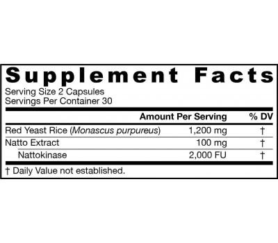 Red Yeast Rice + NK 60 capsules - Monascus purpureus & nattokinase | Jarrow Formulas