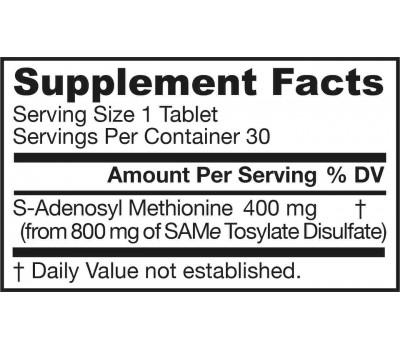SAM-e 400mg 30 tabletten - S-Adenosyl Methionine | Jarrow Formulas