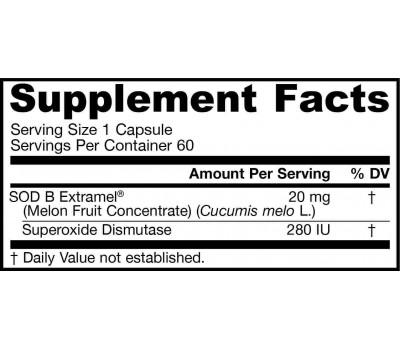 SOD - SuperOxide Dismutase 60 capsules - antioxidant enzyme for the brain | Jarrow Formulas