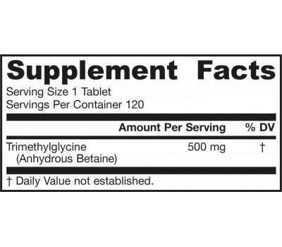 TMG trimethylglycine 500mg 120 tablets - betain | Jarrow Formulas
