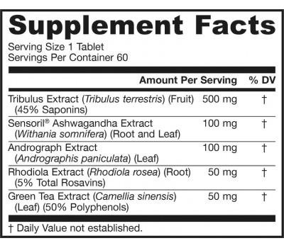Tribulus Complex 60 tablets - tribulus & ashwagandha, andrograph, rhodiola, green tea | Jarrow Formulas