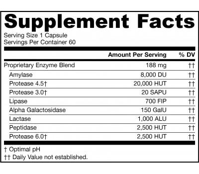 Vegan Jarro-Zymes Plus 60 capsules - digestive enzymes for vegans | Jarrow Formulas