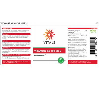 K - MK7 180mcg 60 v-capsules - menaquinon vitamine K2  | Vitals