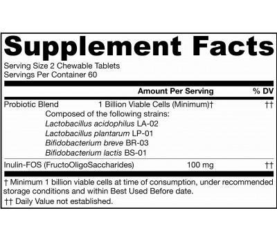 Yum-Yum Dophilus + FOS 1 billion 120 tablets - dairy-free chewable probiotic in raspberry flavour | Jarrow Formulas