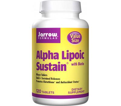Alpha Lipoic Sustain 300mg 120 tabletten  - alfaliponzuur en biotine in een time-released tablet | Jarrow Formulas
