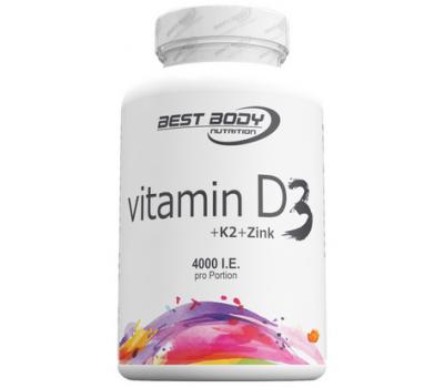 D+K Vitamin D3 4000iu + K2 60mcg + zinc 80 tablets | Best Body