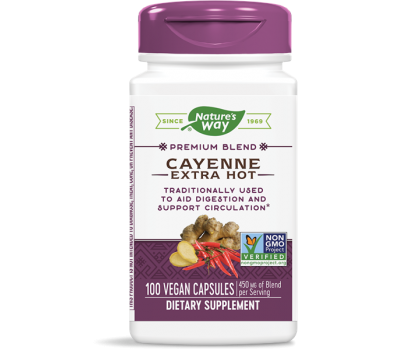 Cayenne Extra Hot 100 capsules - cayenne, ginger and hawthorn blend | Nature's Way