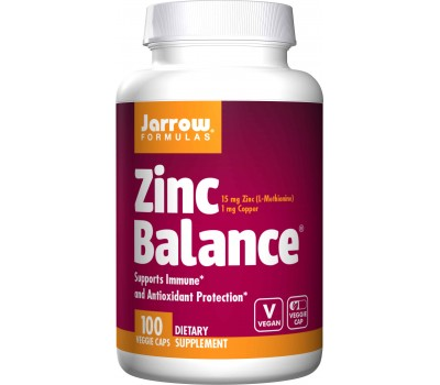 Zinc Balance 15mg 100 capsules - synergistic combination of zinc and copper | Jarrow Formulas