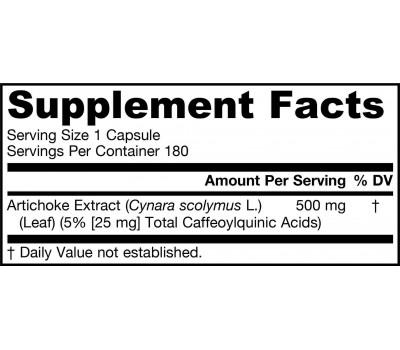 Artichoke 500mg 180 capsules - artisjokextract met caffeoylquininezuur | Jarrow Formulas