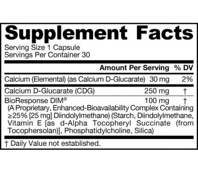 DIM + CDG 30 capsules - diindolylmethane + calcium D-glucarate | Jarrow Formulas