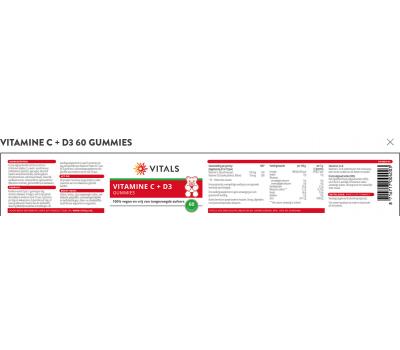 C+D3 - vitamin C + D3 for kids 400iu 60 gummies - ascorbic acid and cholecalciferol  | Vitals